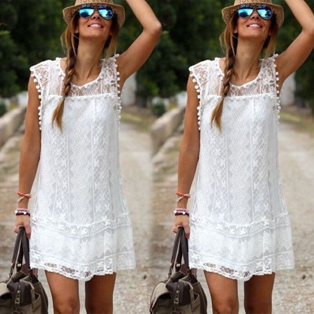 Fashion New Sexy Women's Summer Casual Sleeveless Evening Party Beach Dress Short Mini Lace Dress White S M L XL ()
