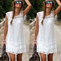 Fashion New Sexy Women's Summer Casual Sleeveless Evening Party Beach Dress Short Mini Lace Dress White S M L XL