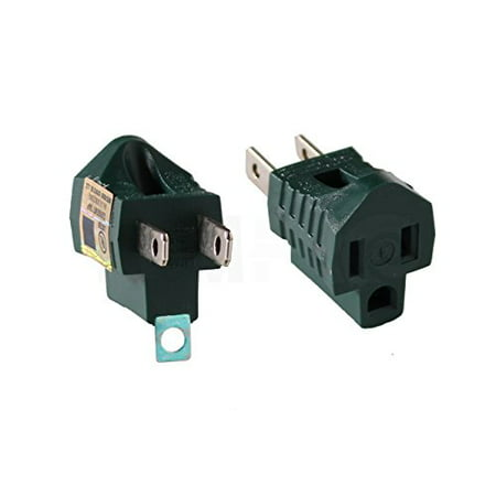 2Pc Ram-Pro 3-Prong To 2-Prong Adapter, Electric Grounding Outlet Converter