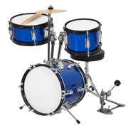 Best Choice Products 3-Piece Kids Beginner Drum Musical Instrument Set w/ Sticks, Cushioned Stool, Drum Pedal - Blue