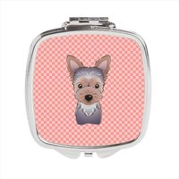 Checkerboard Pink Yorkie Puppy Compact Mirror, 2.75 x 3 x .3 In.
