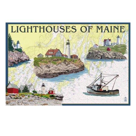 Lighthouses of Maine - Nautical Chart Print Wall Art By Lantern Press ()