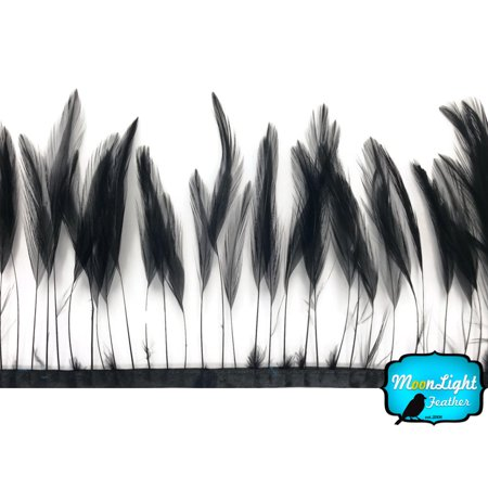 (1 Yard - Black Stripped Rooster Hackle Wholesale Feather (Bulk))