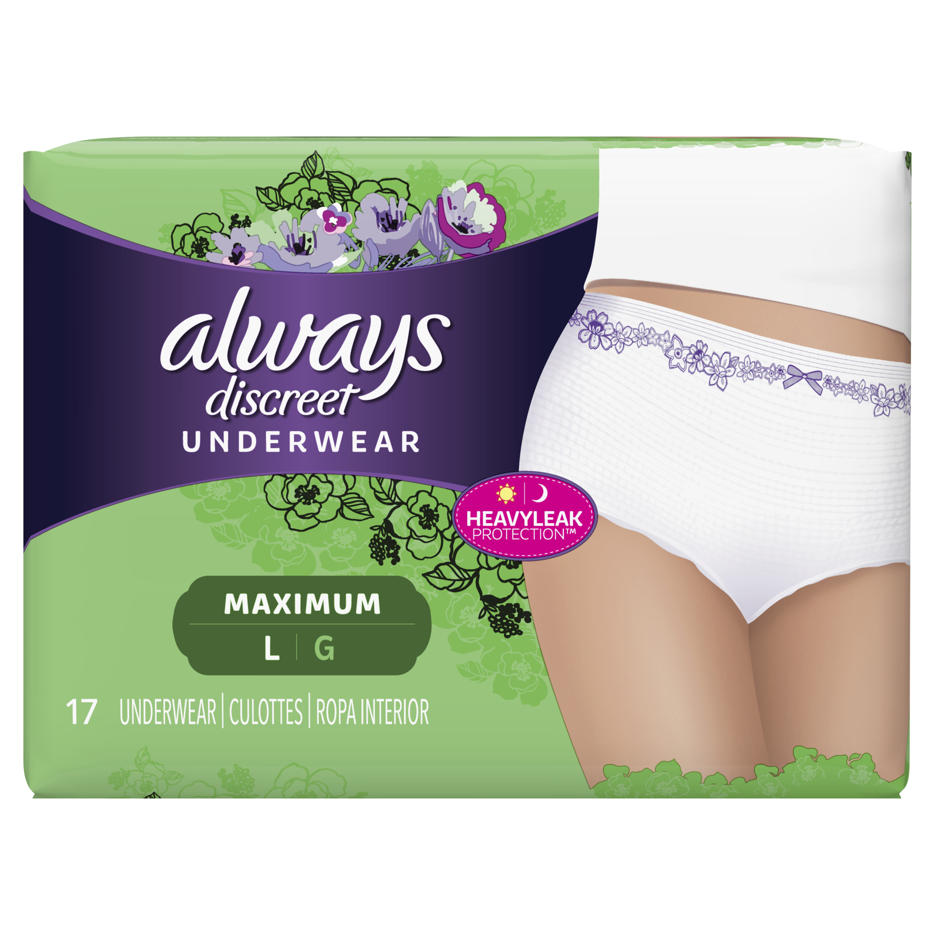 Always Discreet, Incontinence Underwear for Women, Maximum Protection, Large, 17 Count