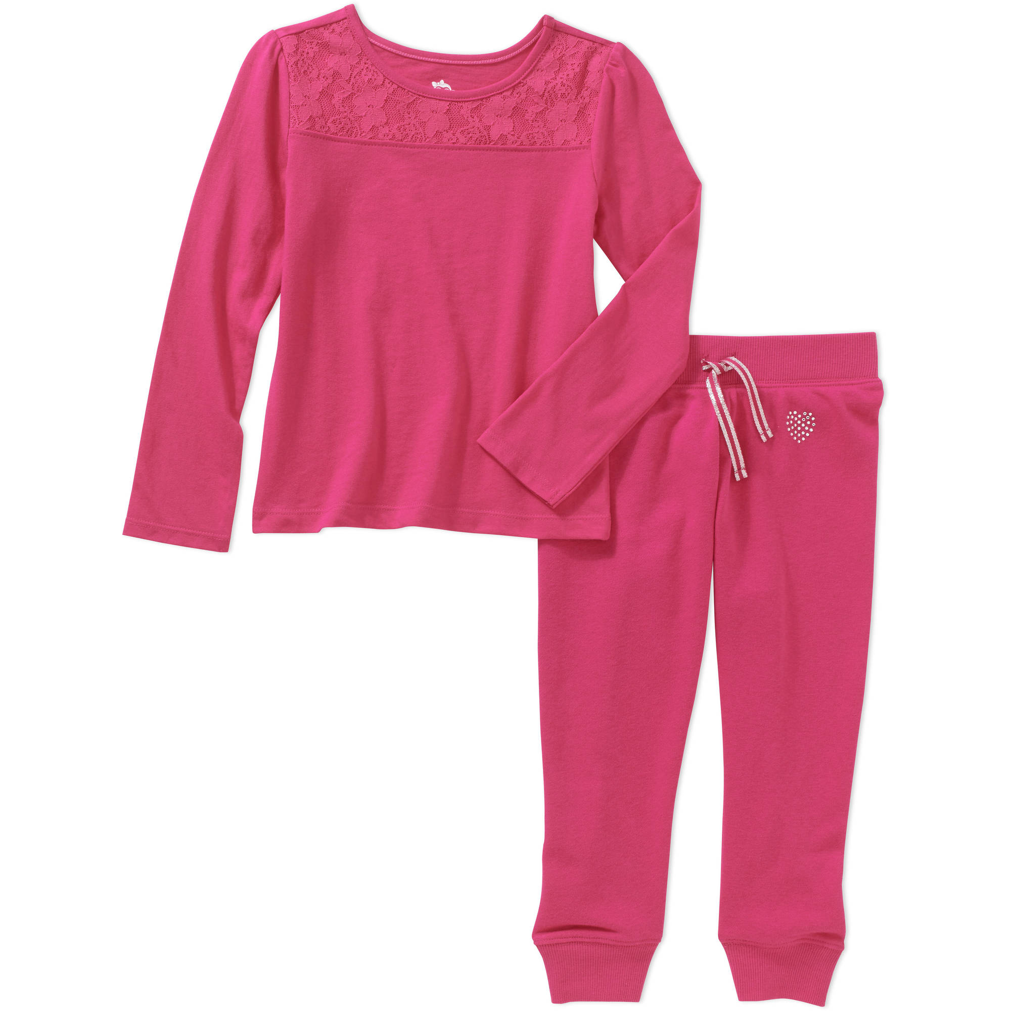 365 Kids from Garanimals Girls' Long Sleeve Lace Tee and French Terry Jogger Outfit Set
