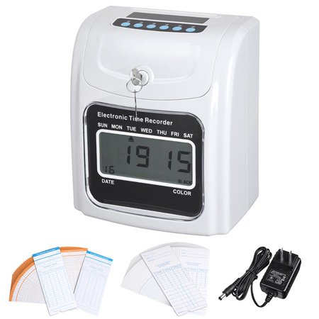 Yescom Employee Attendance Punch Time Clock Payroll Recorder Lcd Display W  100 Cards