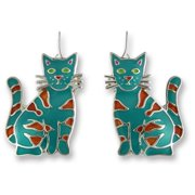 Zarah 01-12-Z1 Calypso Cat Ultrafine Silver Plate Earrings