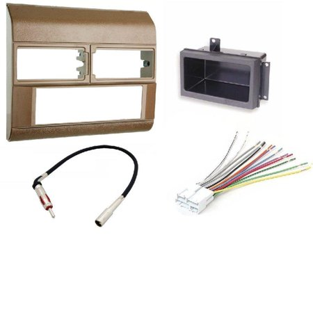 1988-1996 Chevrolet & GMC color (Beige) Complete Single Din Dash Kit + Pocket Kit + Wire Harness + Antenna Adapter