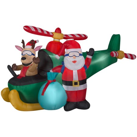 Animated Airblown Santa and Reindeer in Helicopter Scene by Gemmy Industries for $<!---->