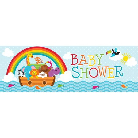 """Pack of 6 Noah's Ark Giant Baby Shower Party Banner 20"""" x 60"""
