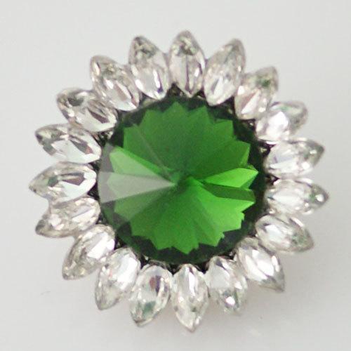 1 PC 18MM Green White Flower Rhinestones Silver Snap Candy Charm KB8679 CC0427