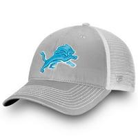 Detroit Lions NFL Pro Line by Fanatics Branded Core Trucker III Adjustable Snapback Hat - Gray/White - OSFA