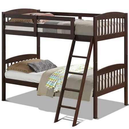 Costway Wood Solid Hardwood Twin Bunk Beds Detachable Kids Ladder