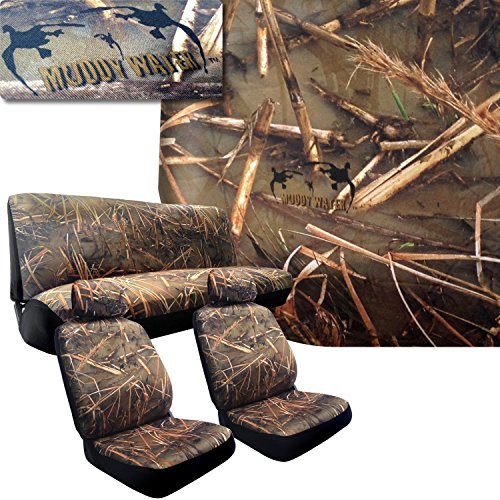 Muddy Water Camo Seat Covers for Lexus Cars (2 Front Seats and Rear Bench) Duck Forest Camouflage Hunting