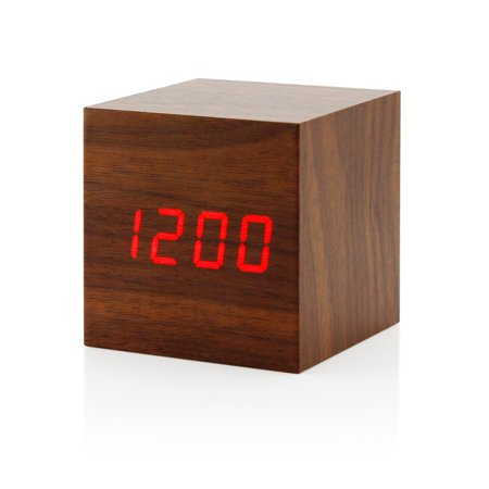ultra modern wooden led clock square cube digital alarm. Black Bedroom Furniture Sets. Home Design Ideas