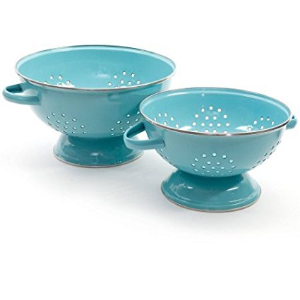 Flea Market 2-Pack Metal Colander, 3-Quart and 5-Quart, Heavy-duty Carbon Steel Colanders (Turquoise), 3 qt colander..., By The Pioneer Woman Ship from US