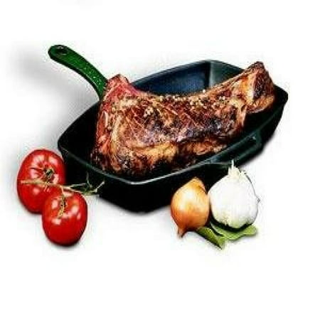 Paderno Chasseur Blue Cast Iron Rectangular Grill Pan, 12.5 Inch
