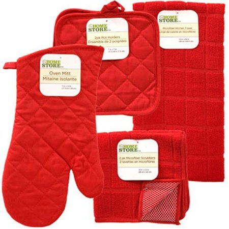 Red Windowpane Pattern Kitchen Linens Collection: Set includes: 1 Pot Holder * 2 Pot Holders * 1 Kitchen Towel * 2 Microfiber Scrubbers (6 Items Total), By The Home Store