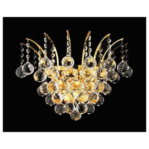 Victoria Clear Crystal Sconce w 3 Lights in Gold (Royal Cut)