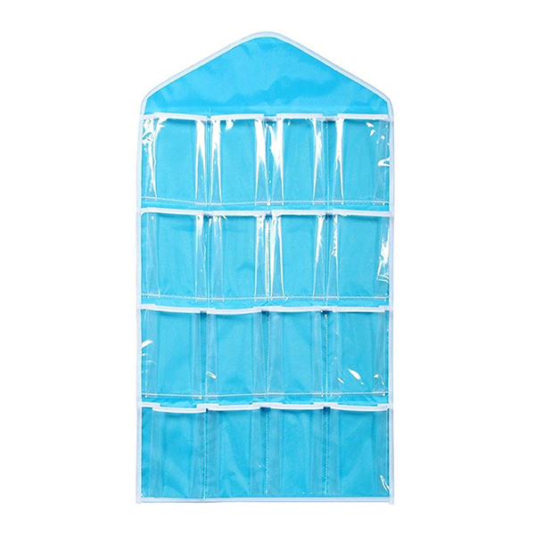 16 Pockets Clear Over Door Hanging Bag Shoe Rack Hanger Underwear Socks Bra Closet Storage Tidy Organizer