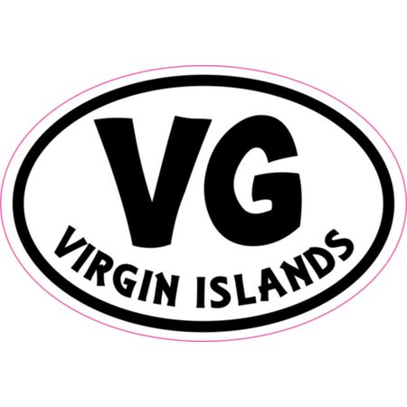 3in x 2in oval vg virgin islands sticker vinyl cup decal vehicle stickers