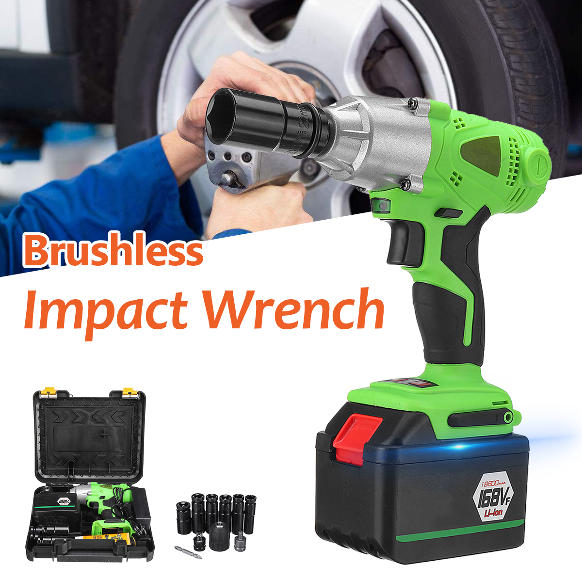 98/128VF Brushless Cordless Impact Wrench Drill Socket 0-2500 RPM 10MM LED Light Electric Screwdriver Home Garden