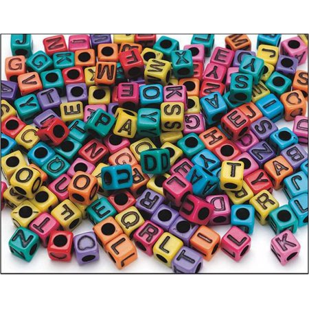 Cube Alphabet Beads with Vertical Hole: Assorted Colors