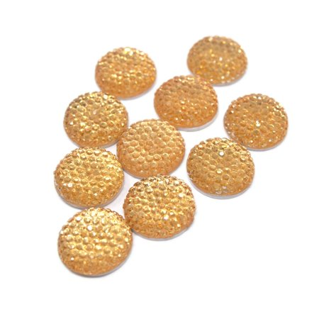 Round Self Adhesive Diamond Cluster Gems, Gold, 16mm, 10-Count