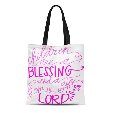 ASHLEIGH Canvas Tote Bag Pink Children Are Blessing Scripture Baby Girl Bible Durable Reusable Shopping Shoulder Grocery Bag](Bible Bags And Totes)