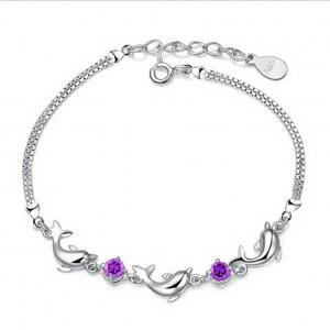 Fancyleo Jewelry Amethyst Dolphins Bracelet Men To Send His Girlfriend A Birthday Gift Special