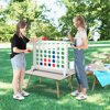 Wooden 4 in a Row Game with Coin Family Fun Party Outdoor Yard Games for Kids and Adults White -30.31 x 25.59 x 9.06""