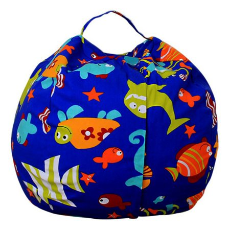 Printed Multi-functional Storage Bag Soft Plush Toy Pouch Home Storage Toys Been Bag Organizer Box (Toy Storage Bag)