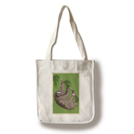 Three Toed Sloth   Letterpress   Lantern Press Artwork  100  Cotton Tote Bag   Reusable