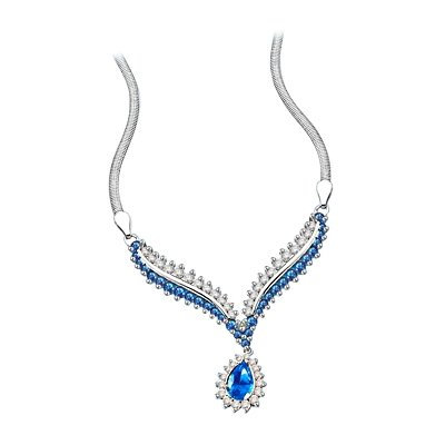 Diamond Essence Necklace with Pear cut Sapphire, Round cut Sapphire and Brilliant Stones, 4.50 cts.t.w. - covid 19 (Brilliant Cut Pink Sapphire Necklace coronavirus)