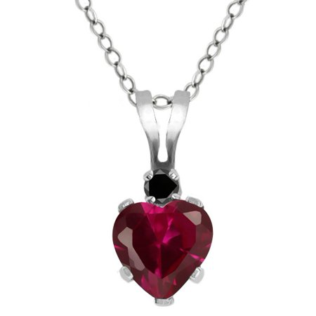 (0.63 Ct Heart Shape Red Created Ruby Black Diamond 925 Sterling Silver Pendant)
