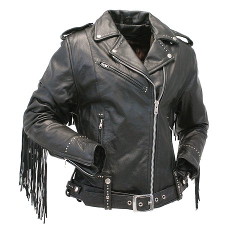 Ladies Stud And Fringe Leather Jacket #L9028ZSFK