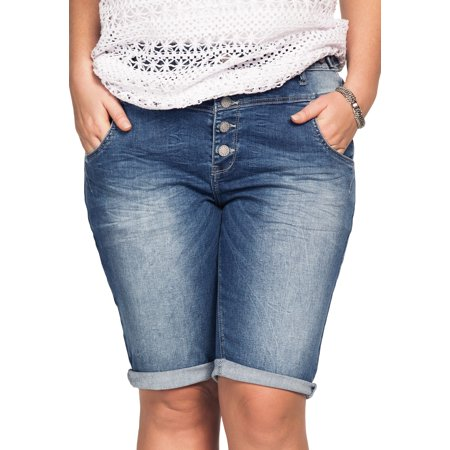 Ellos Plus Size Bermuda Denim Shorts