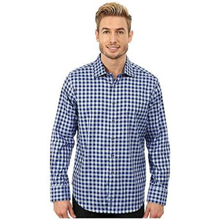 Robert Graham Men's Dartmoor Long Sleeve Woven Shirt Blue Button-up Shirt SM (US 38)