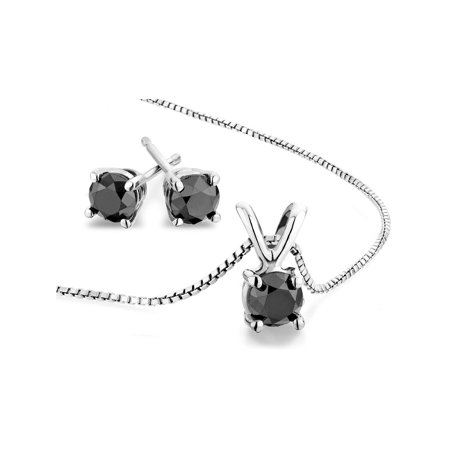 2.0 Carat (ctw) Black Diamond Solitaire Earrings and Necklace Set in Sterling Silver