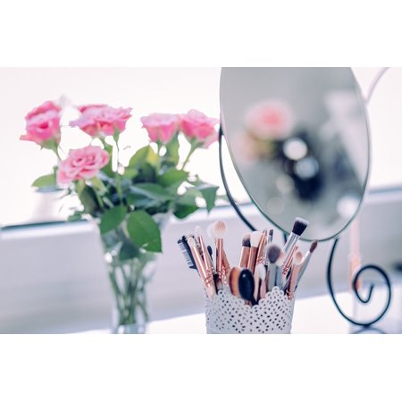 Canvas Print Mirror Makeup Brush Beauty Rose Petals Pink Stretched Canvas 10 x