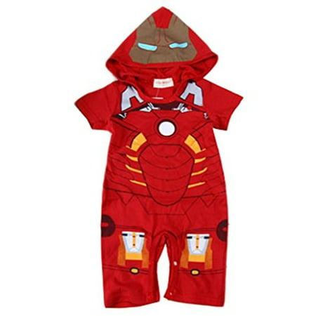 StylesILove Baby Boy Iron Man Hoodie Costume Jumpsuit (18-24 Months) - Iron Man Baby