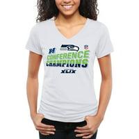 Women's Seattle Seahawks 2014 NFC Champions Trophy Collection Locker Room V-Neck Tri-Blend T-Shirt - White