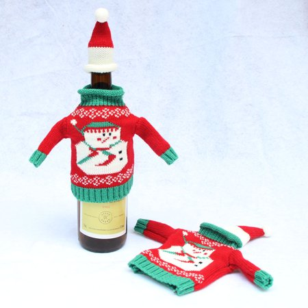 Christmas Wine Bottle Knitted Sweaters Bottle Cover One Set
