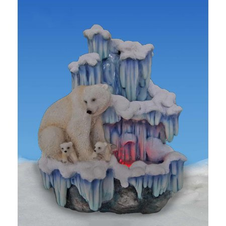 Sintechno Artistic Sculptural Mother Polar Bear with Her Cubs on Iceberg Tabletop Water Fountain with Light (Bear Fountain)