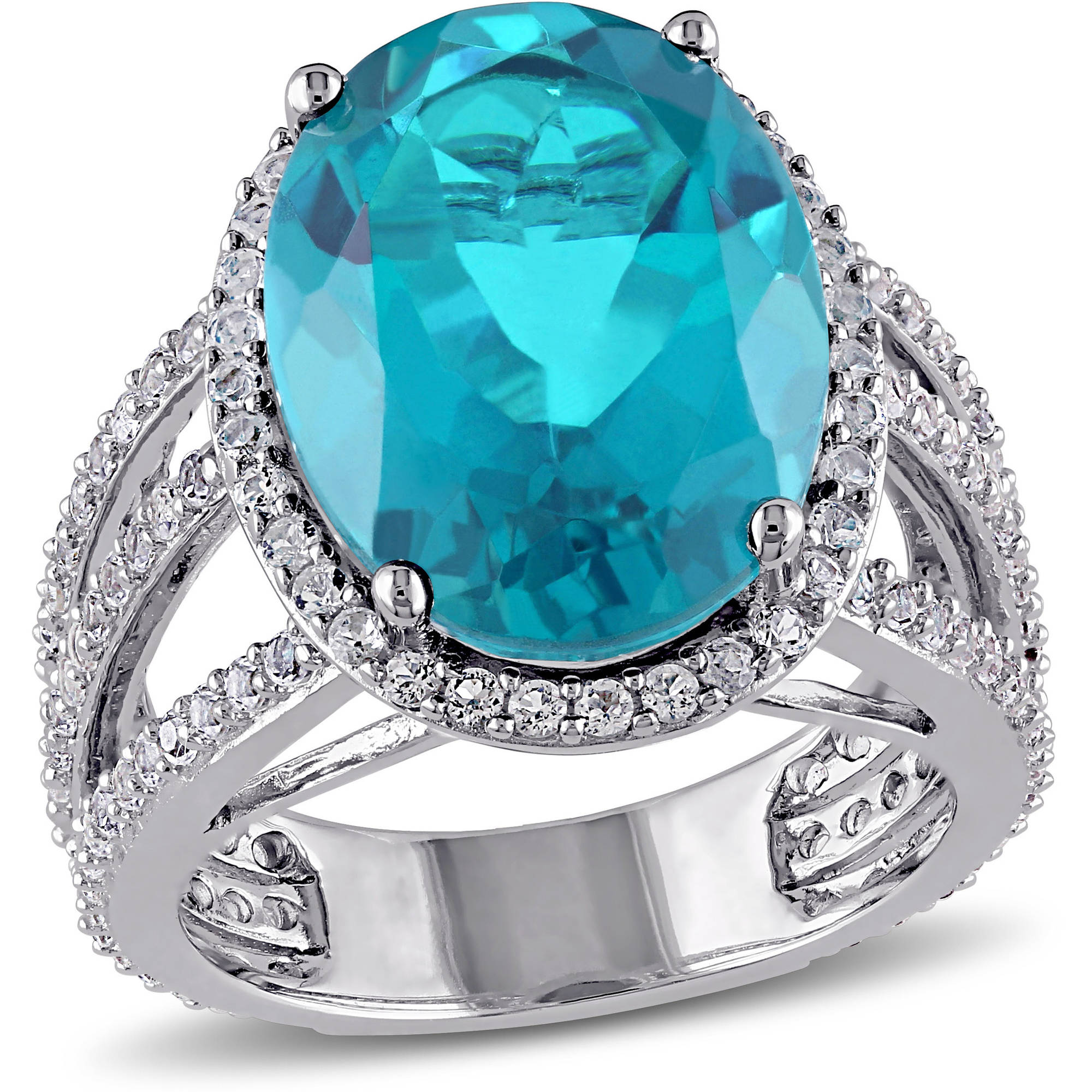 9-3/5 Carat T.G.W. Paraiba, Quartz and White Topaz Sterling Silver Halo Cocktail Ring