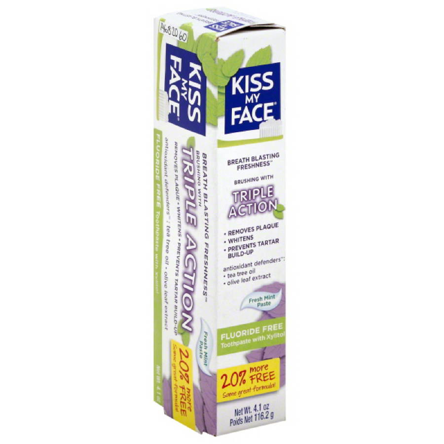 Kiss My Face Triple Action Fluoride Free Fresh Mint Toothpaste with Xylitol, 4.1 oz