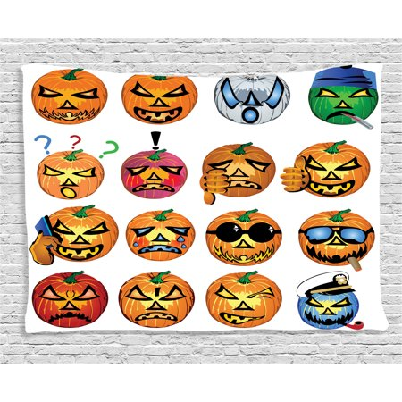 Halloween Decorations Tapestry, Carved Pumpkin with Emoji Faces Halloween Humor Hipster Monsters Art, Wall Hanging for Bedroom Living Room Dorm Decor, 60W X 40L Inches, Orange, by Ambesonne