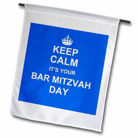 Bar Mitzvah Decor (3dRose Keep Calm It's Your Bar Mitzvah Day - Good Luck Encouraging Message Boys Jewish 13th Birthday Polyester Garden)