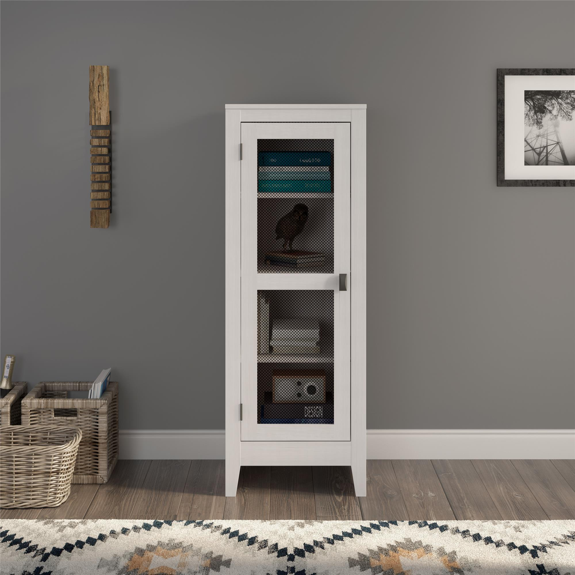 SystemBuild Paradise Valley Storage Cabinet with Mesh Door, Ivory Oak