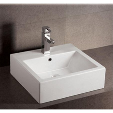 Square Mounting Holes - Alfi Trade  19.62 in. Isabella square wall mount basin with overflow#44; single faucet hole and rear center drain- White
